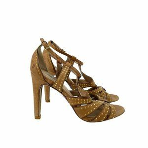 """Uterque Open Toe Leather 3.5""""Heels Brown Ankle"""